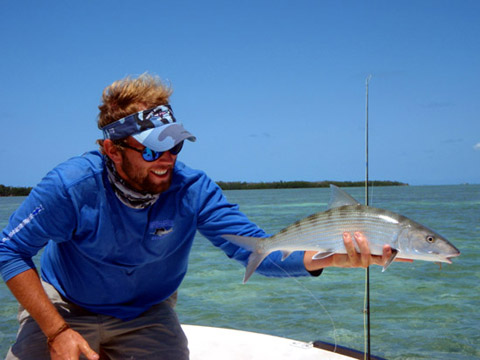 Key West Flats Guide Eric Ryan holds a bonefish.