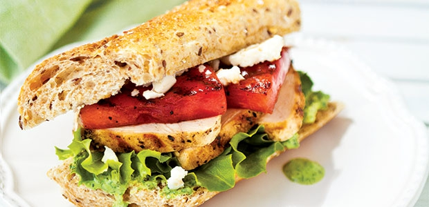 Watermelon Sandwich With Grilled Chicken And Boursin