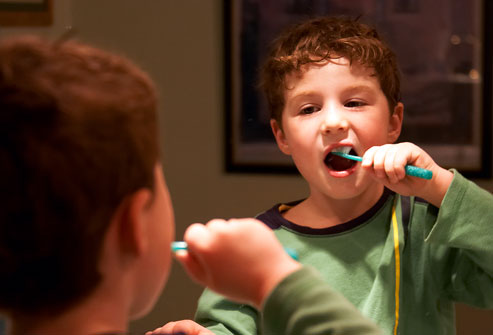 Kid Brushing Teeth Before Sleeping