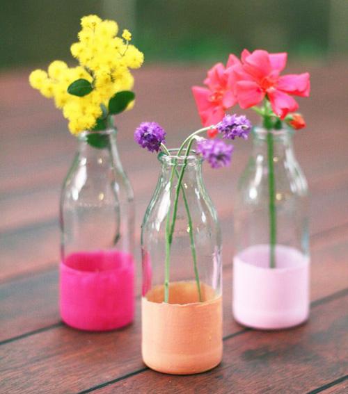 flower vases from milk bottles