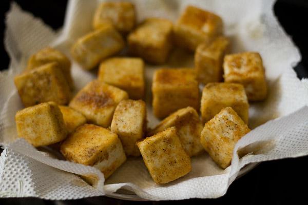 fried paneer cubes
