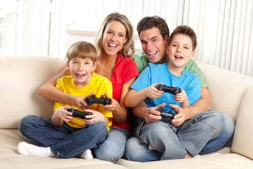 family playing video game