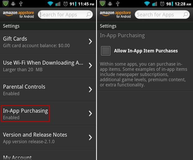 disable App Purchases Amazon Appstore